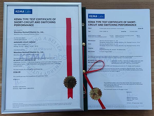 Obtención del informe de prueba del tipo de reconectador automático de 15 kV de KEMA